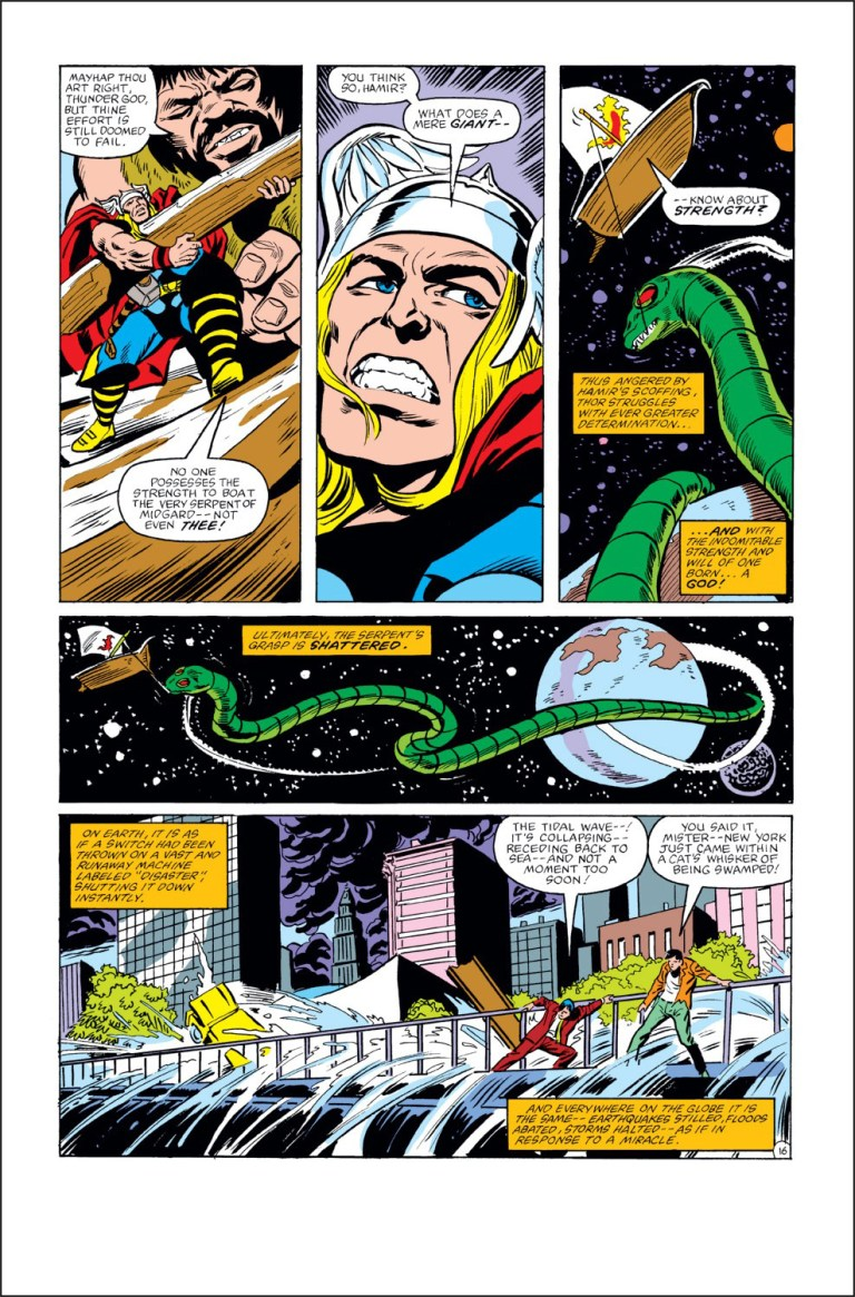 In 'Thor #327', Thor lifts the Midgard Serpent with a bait, uncoiling from the Earth.
