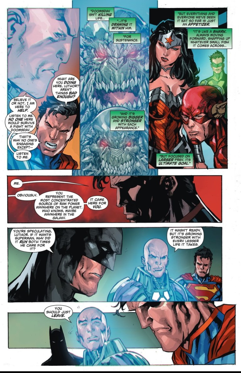 In 'Superman Doomed' (2014) #1, during a Justice League meeting in an emergency bunker in Washington D.C., Lex Luthor hacks the Justice League's communication systems.