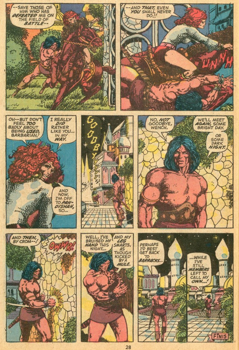 In 'Conan The Barbarian' (1973) #24, Red Sonja escapes Conan with the Serpent Tiara.