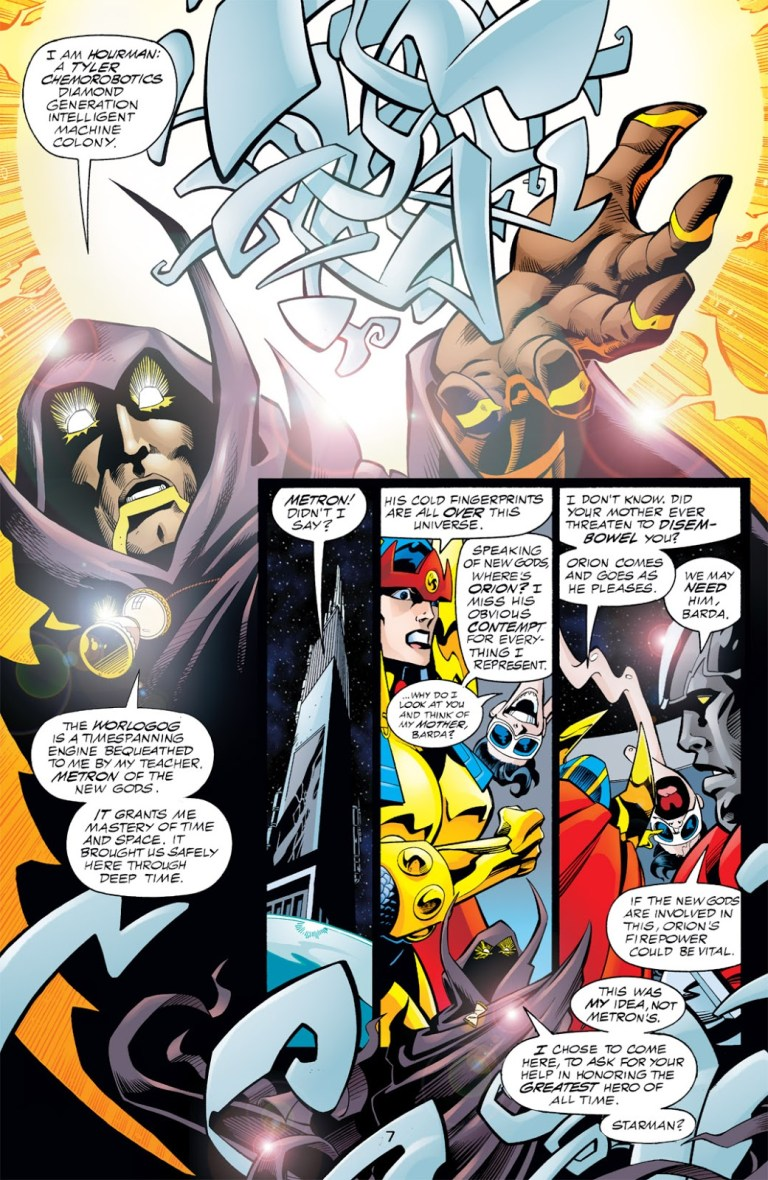 """In 'DC One Million' (1998) #1, Hourman speaks of the Worlogog which grants him """"mastery of time and space."""""""