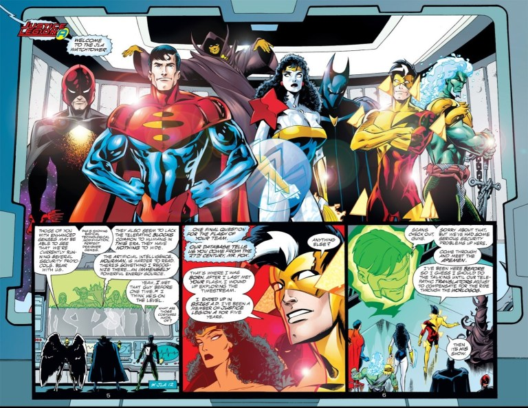 In 'DC One Million' (1998) #1, the Justice Legion Alpha from the 853rd century time travels to the Justice League satellite in the 20th century.