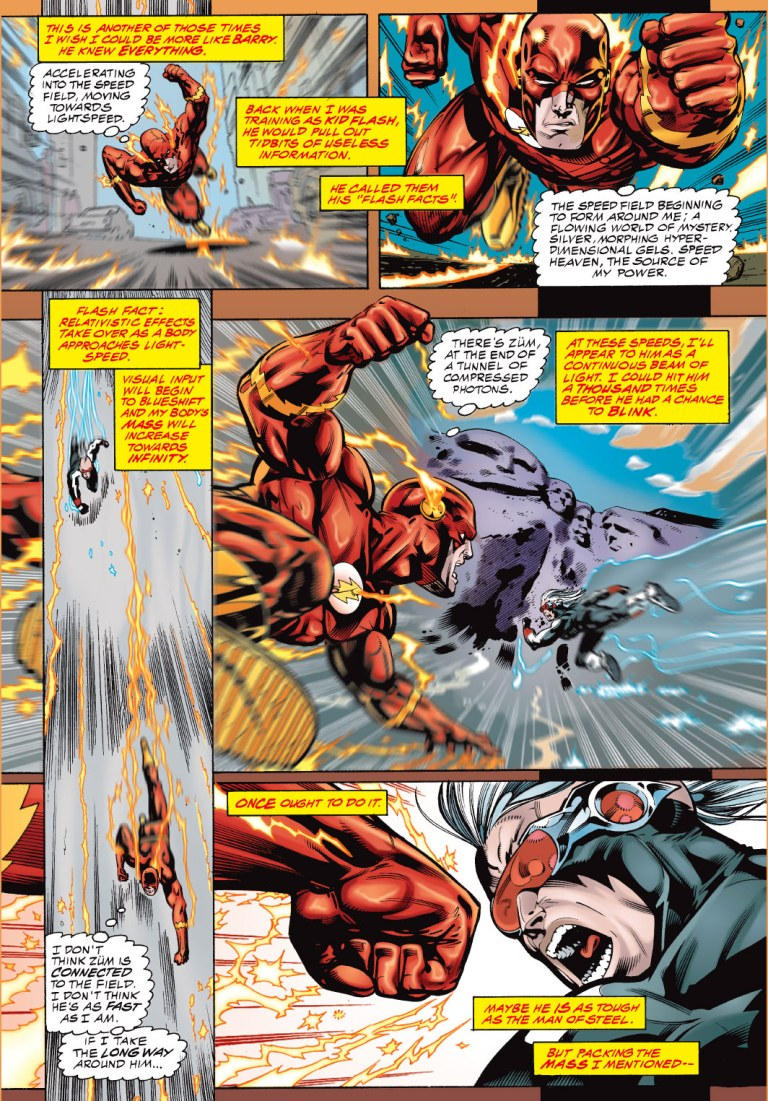 In 'JLA' (1997) #3, Flash remembers the Flash fact to use the infinite mass punch against Zum.
