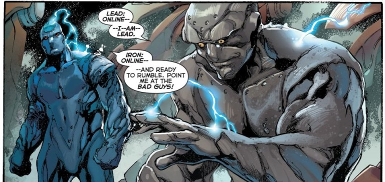 In 'Justice League' (2014) #28, Iron is the fourth to come online.