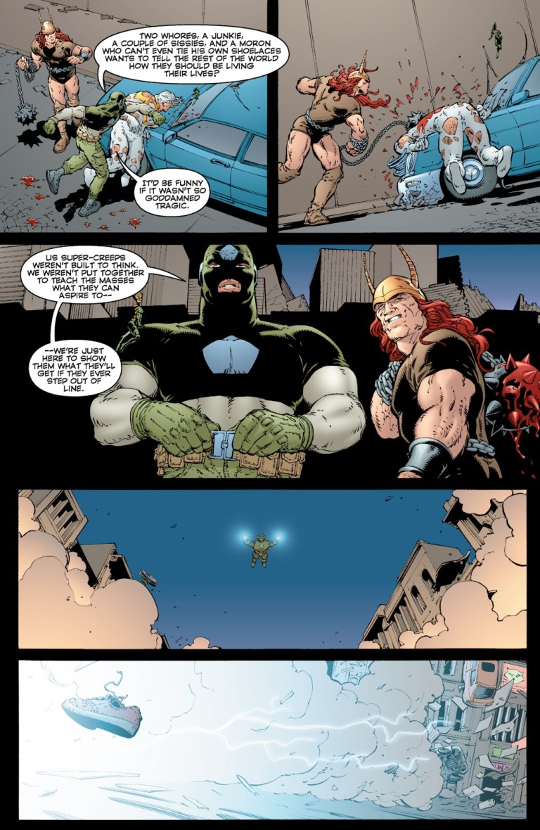 In 'The Authority' (2000) #14, The Commander beats down and brutally rapes Apollo.