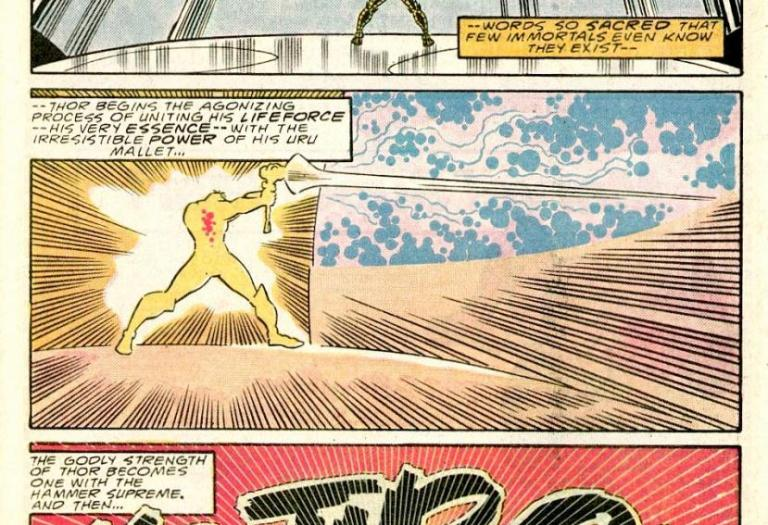 In 'Thor' (1988) #388, Thor cracks Exitar's Brain Dome with the God Blast.
