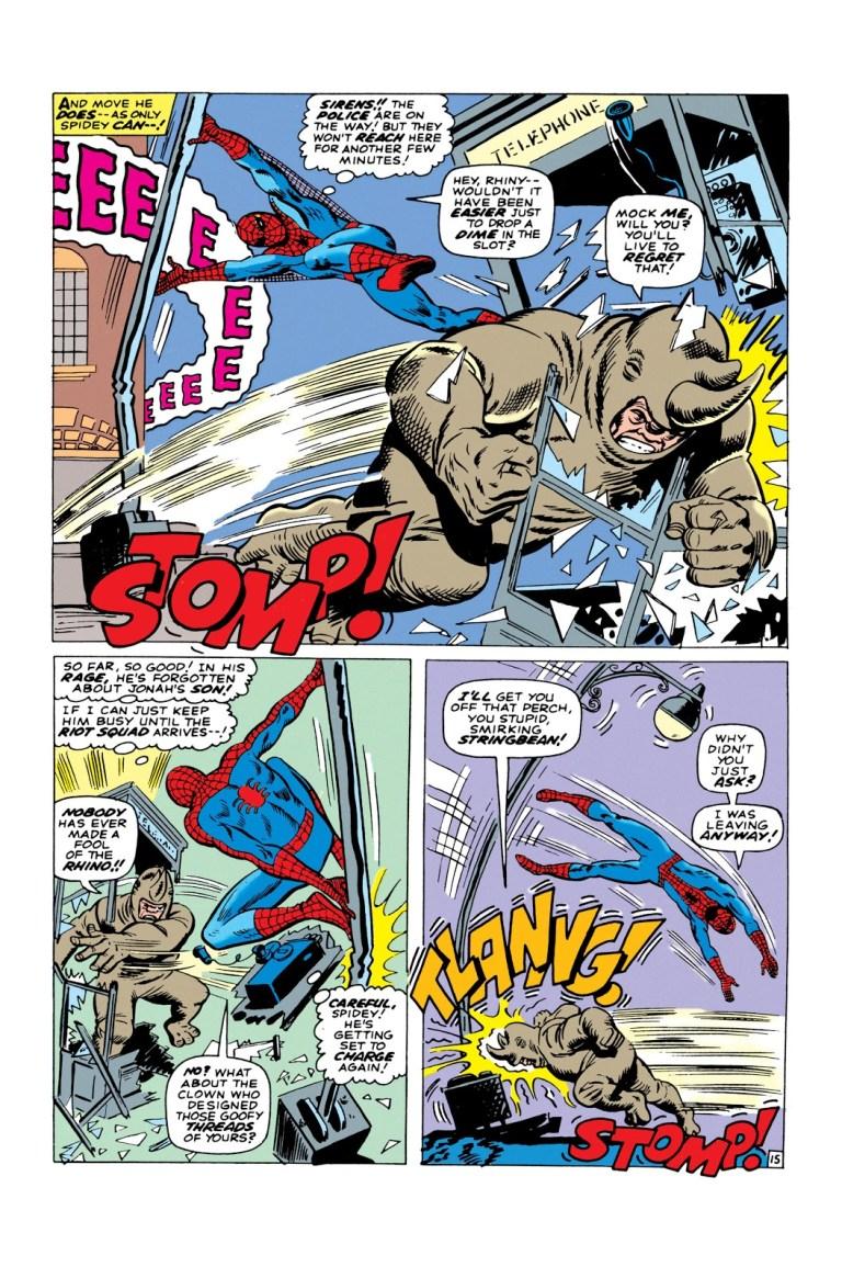 In 'Amazing Spider-Man' 1966 #41, Spider-Man dodges the Rhino's battering ram.