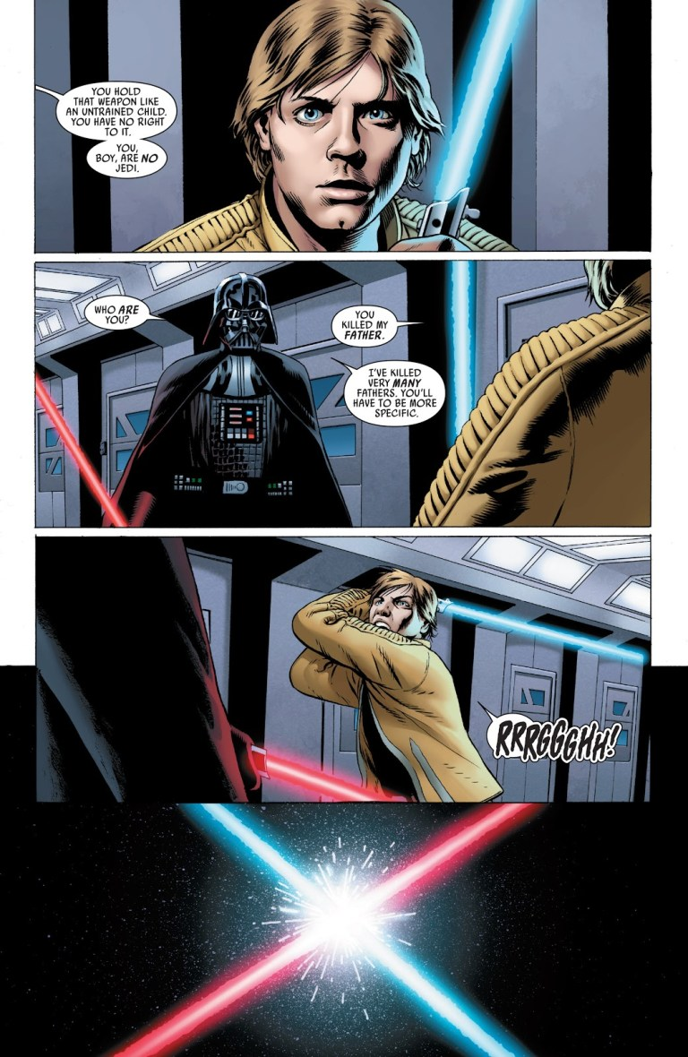 In 'Star Wars' (2015) #2, Luke Skywalker faces the menace of the Sith Lord Darth Vader.