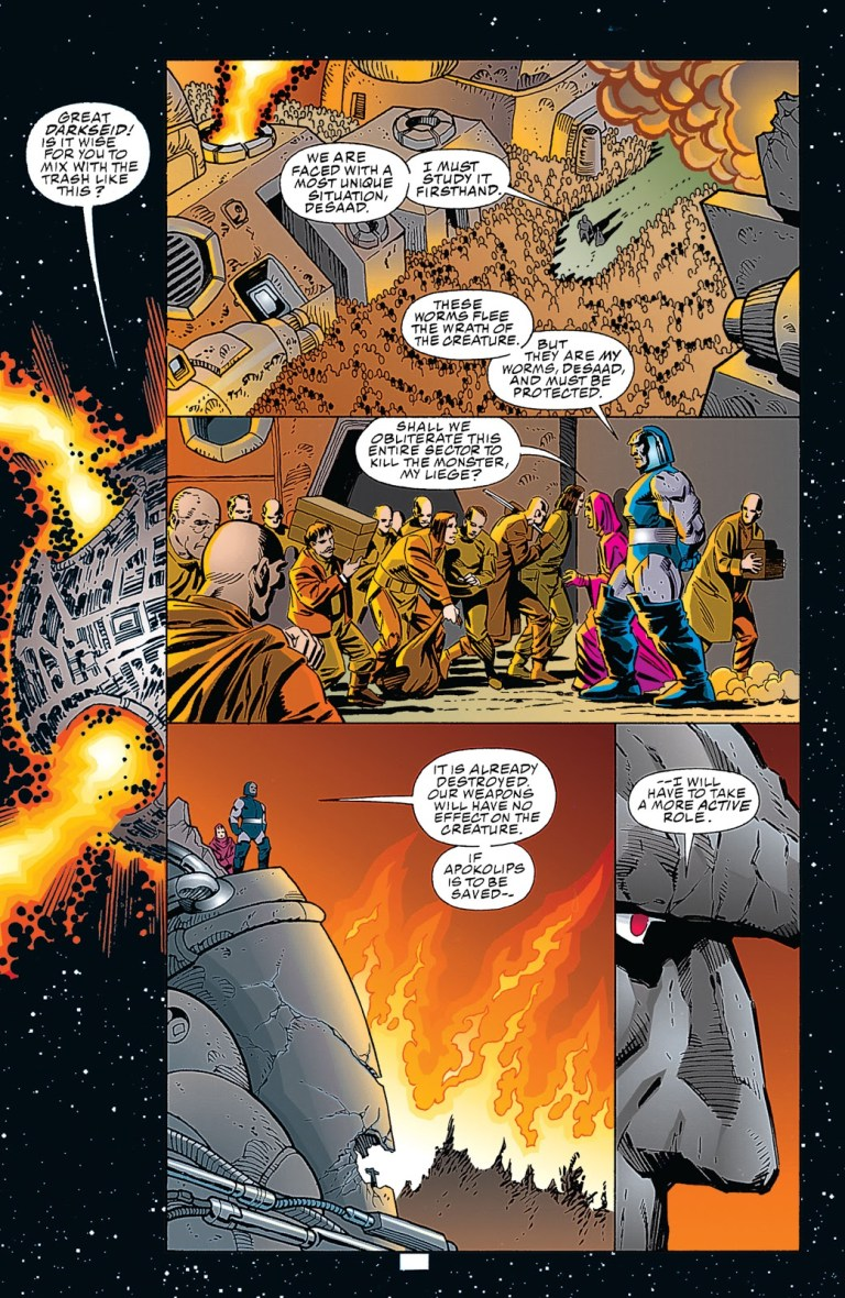 In 'Superman/Doomsday: Hunter/Prey' (1994) #1, Darkseid studies Doomsday destroying Apokolips before engaging the monster in combat.