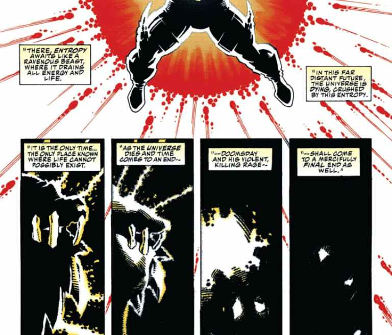 In 'Superman/Doomsday: Hunter Prey #3' (1994), Doomsday is taken to the end of time by Superman and Waverider.