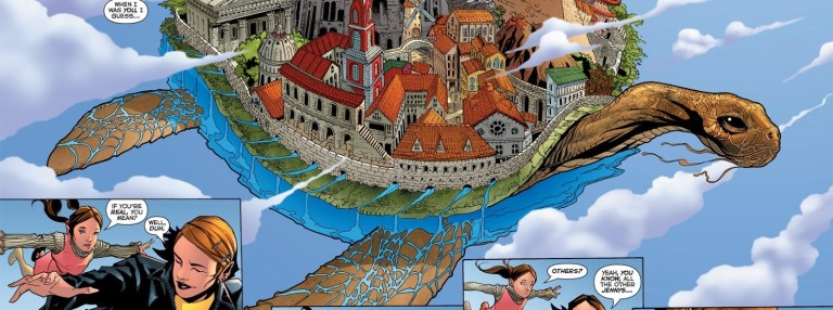 In 'The Authority: Revolution' (2005) #7, Jenny Quantum and her 14 year old self travel to Infinite City.