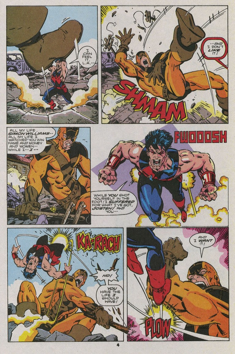 In 'Wonder Man' (1991) #1, Wonder Man performs a super strength feat. In a fight in Los Angeles with Goliath, Wonder Man lifts and topples Goliath.