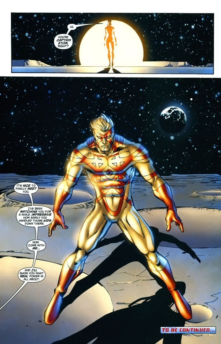 In 'Captain Atom: Armageddon' #4, Captain Atom is transported through a door to the moon by The Authority.