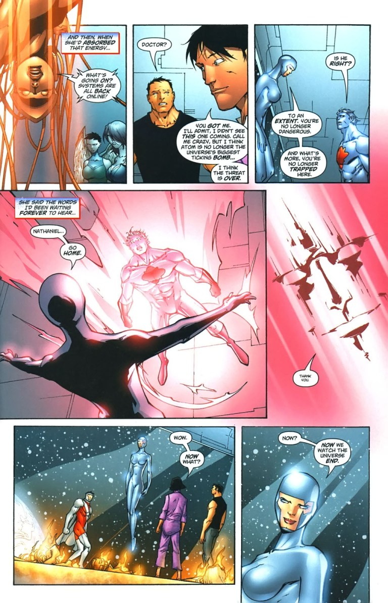 In 'Captain Atom: Armageddon' (2006) #9, Void rescues Captain Atom from the Worldstorm.