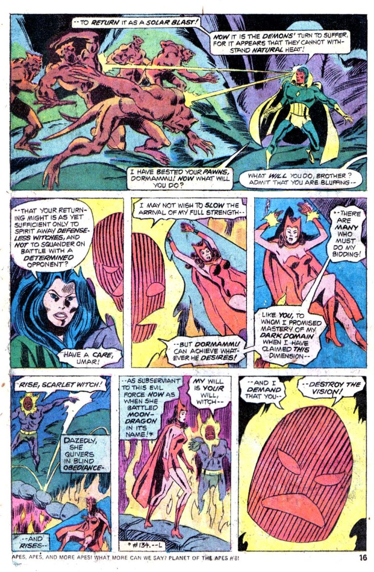In 'Giant Size Avengers' #4, the Vision uses his solar gem to fire solar blasts at Dormammu's demons.