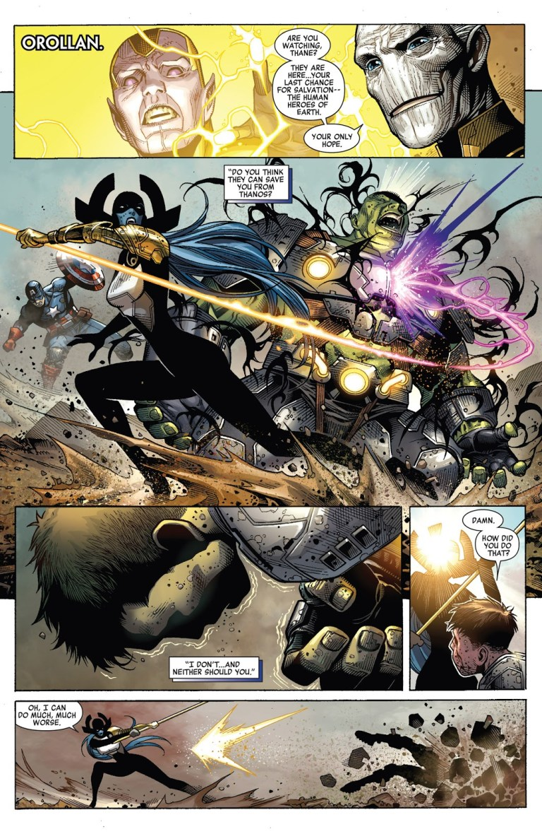In 'Infinity' (2014) #6, titled 'Amber', Hulk performs a super strength feat. During the battle, Proxima Midnight hits Hulk with the weight of a star until he reverts to Bruce Banner.