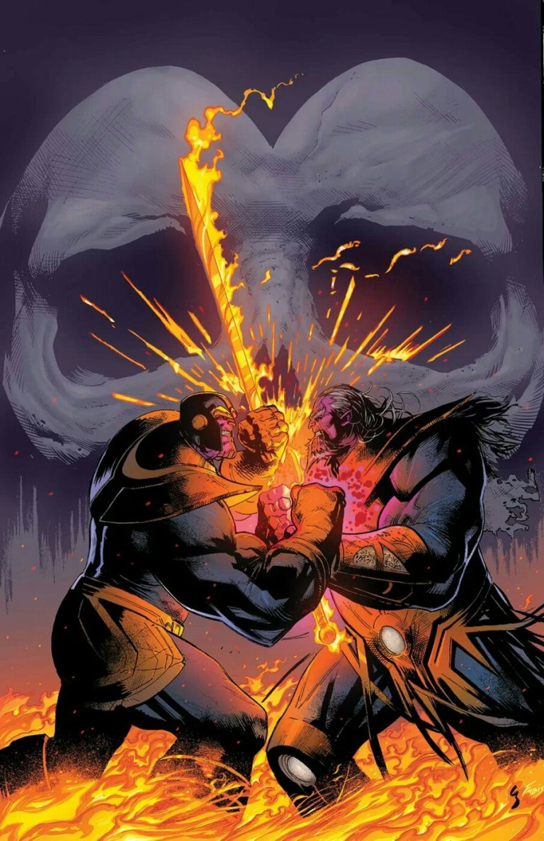 """In the """"Thanos Wins"""" story arc, Thanos has conquered the universe at the end. In order to defeat the Fallen One (Silver Surfer), Thanos from the future sends Rider to kidnap and recruit Thanos from the past."""