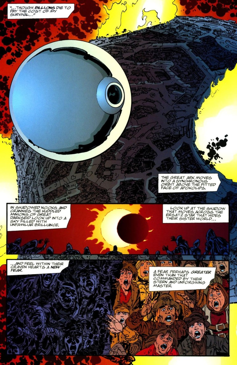 In 'Darkseid/Galactus: The Hunger' (1995), Galactus uses the sphere-shaped starship in order to invade Apokolips before the bewildered glances of its denizens.