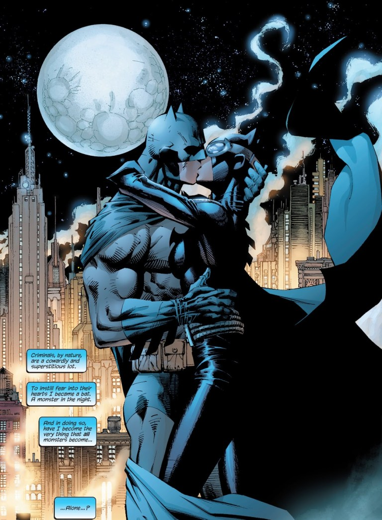 In 'Batman' (2003) #610, Batman and Catwoman share a kiss under the full moon in Gotham City.