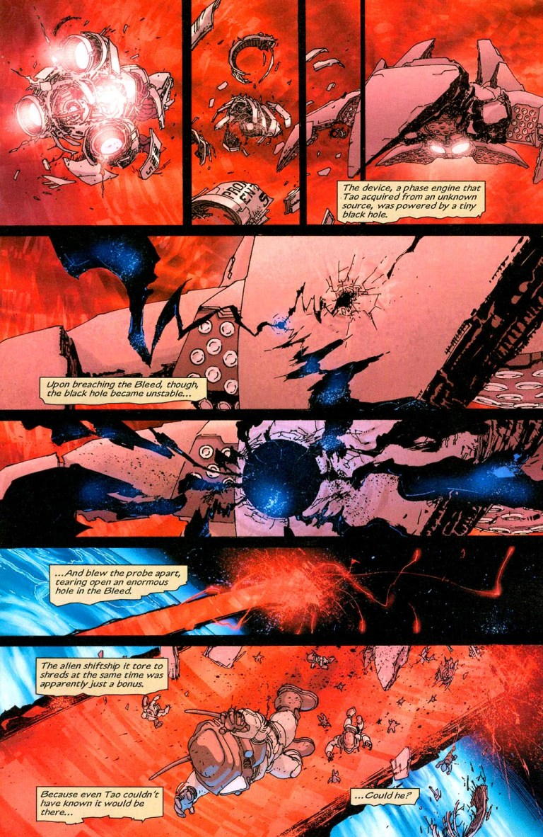 In 'Coup D'etat' (2004) #1, Tao tricks the U.S. government into traveling to the Bleed leading to an accident.