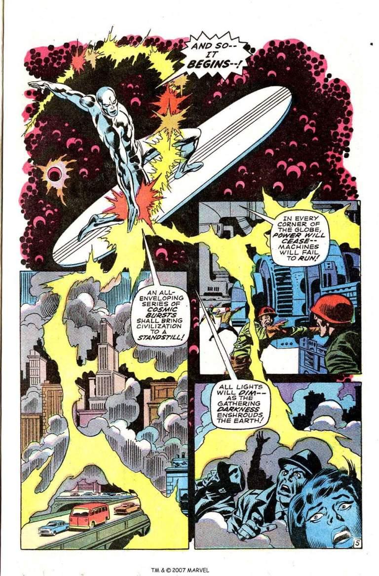 In 'Silver Surfer' (1968) #3, Silver Surfer brings civilization to a standstill.