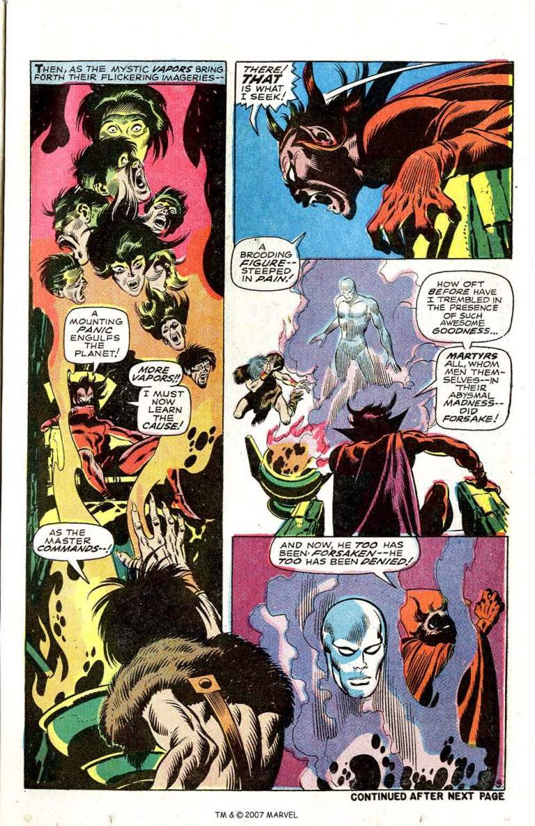 In 'Silver Surfer' (1968) #3, Mephisto's attention is drawn to Silver Surfer who has created a calamity on Earth.