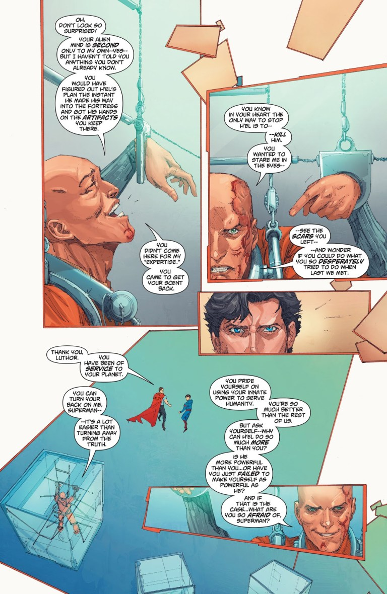 In 'Action Comics' (2013) #15, Lex Luthor imprisoned at a military facility, states Superman's mind is second to his.