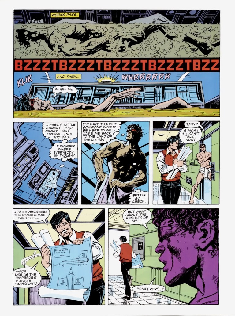 """In """"Emperor Doom"""" (1987), Wonder Man awakes from his floatation device and finds the world is ruled by Emperor Doom."""