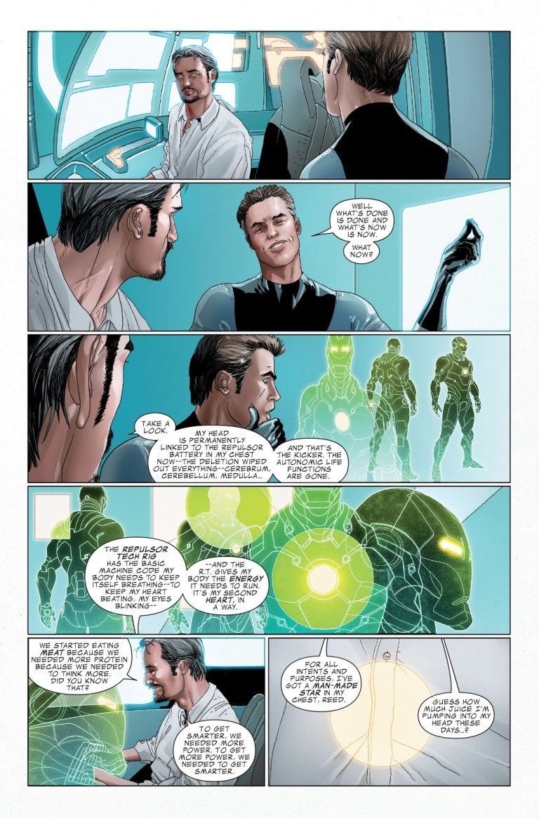 In 'Invincible Iron Man' (2010) #25, Tony Stark explains to Mister Fantastic about the Bleeding Edge Armor.