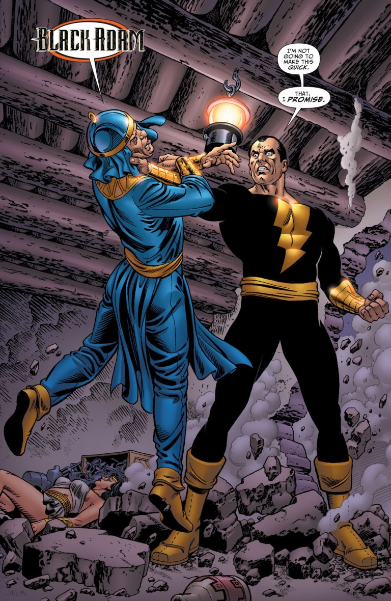 In 'Justice Society Of America' (2009) #23, Black Adam holds Felix Faust by the throat so that Faust may free Isis from his possession.