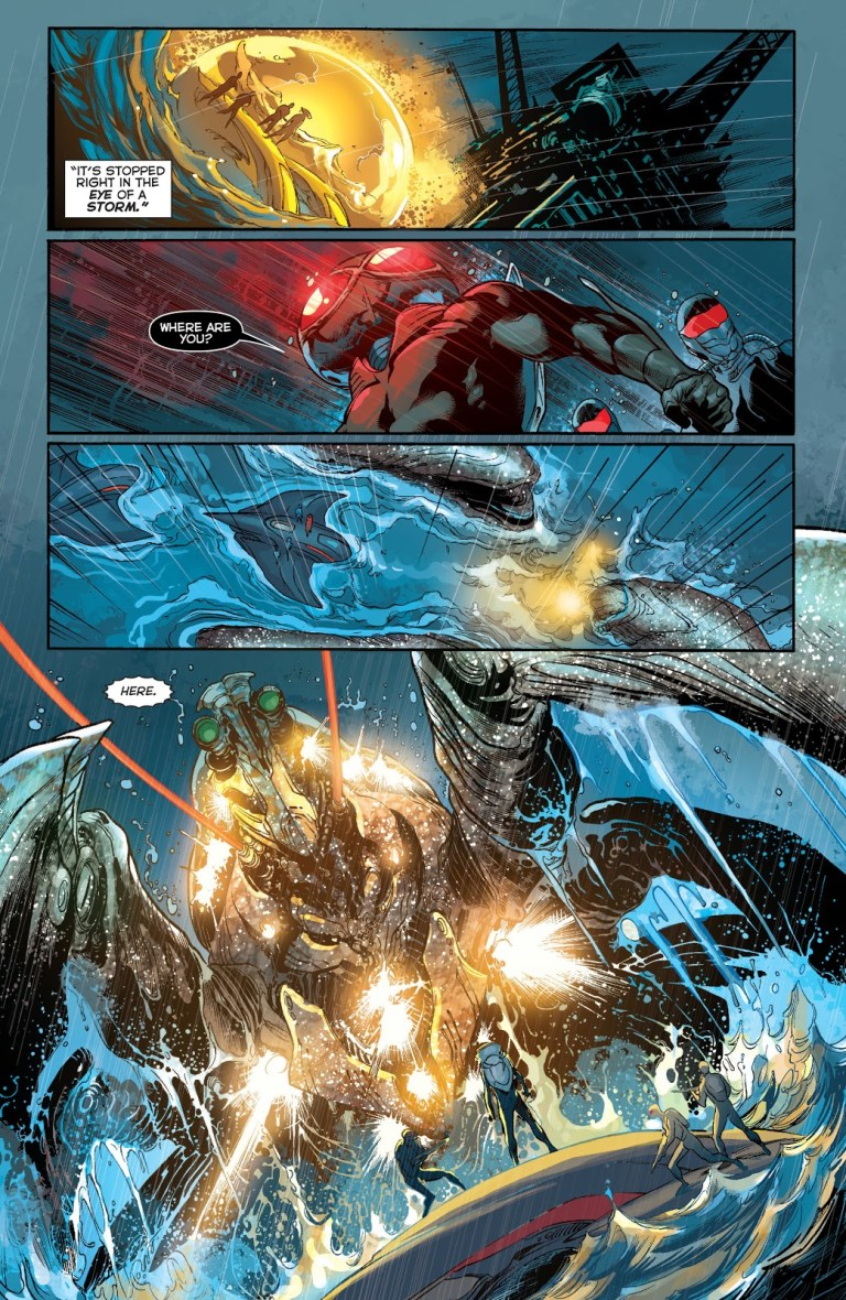 In 'Aquaman' (2012) #13, Black Manta prepares to deal the Sceptre to unidentified buyers.