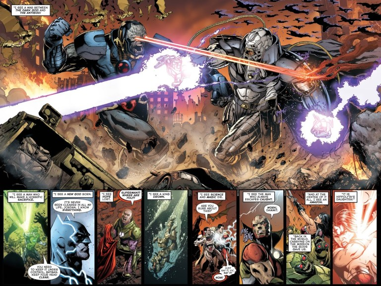 "In ""Darkseid War"" (2015), Minalippe foretells the prophecy of the Darkseid War."