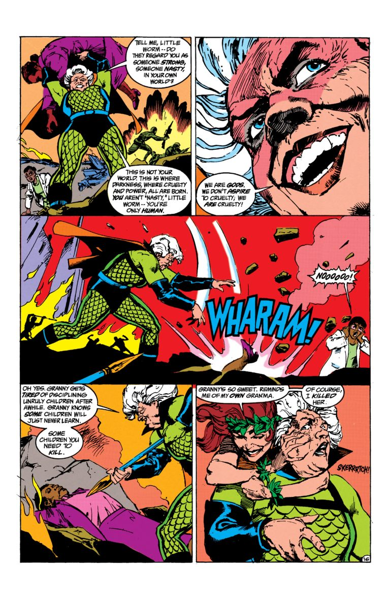 In 'Suicide Squad' (1987) #35, Poison Ivy scratches Granny Goodness with enough poison to kill an elephant.
