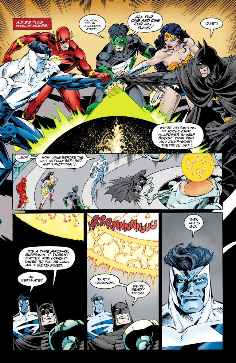 In 'JLA/WildC.A.T.s.' (1997), in 33 A.D., the JLA use Green Lantern's power ring to focus their willpower to power the drive mechanism.
