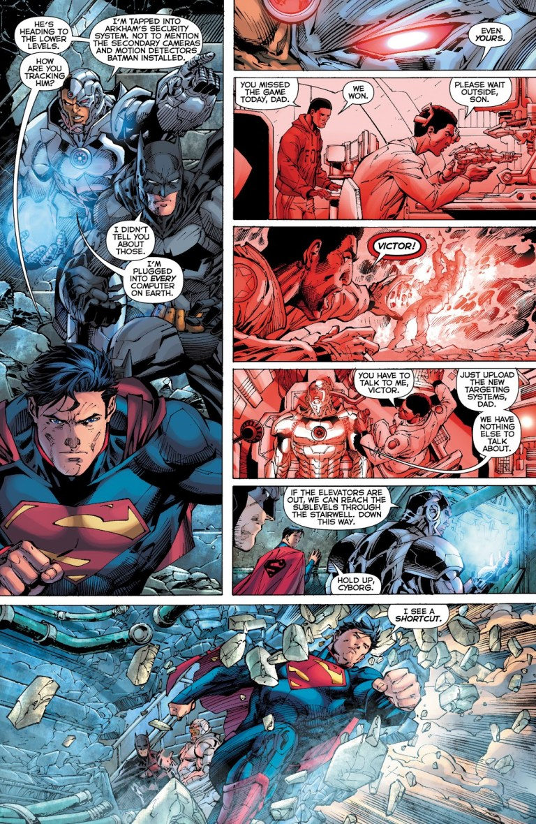 In 'Justice League' (2012) #9, Cyborg states he is plugged onto all the computers on Prime Earth.