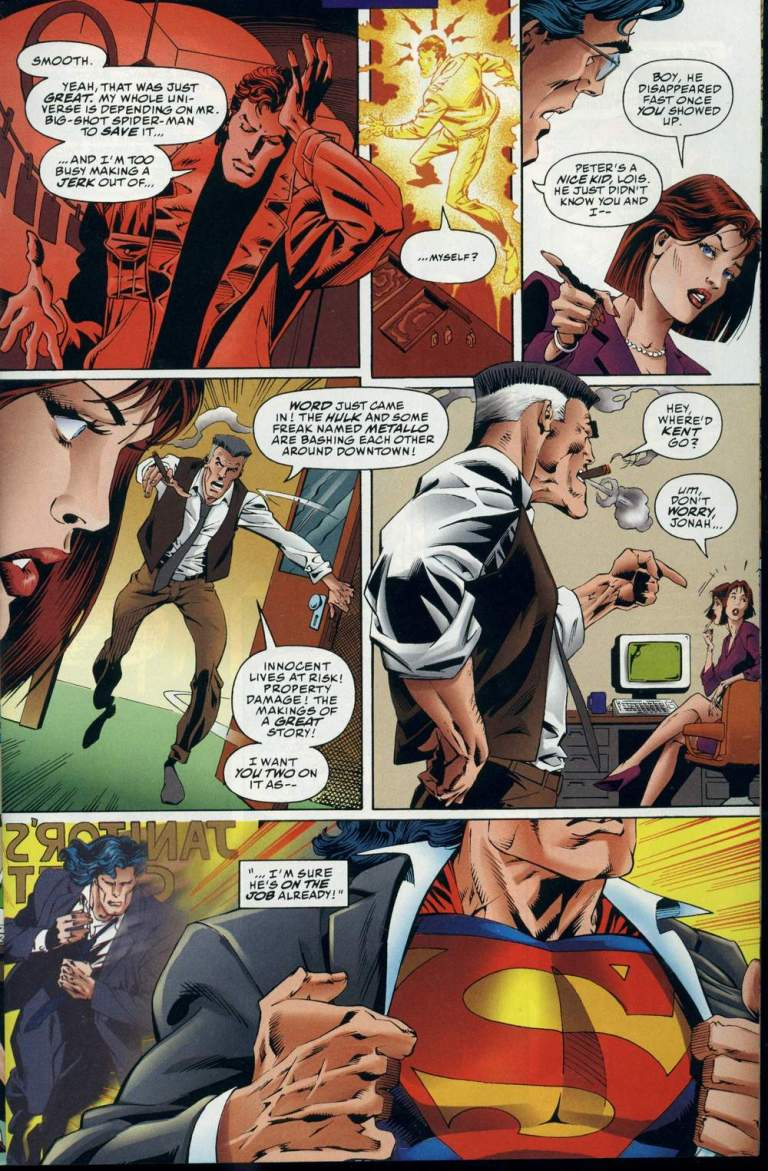 In 'Marvel Versus DC' (1996) #3, Clark Kent changes into Superman.