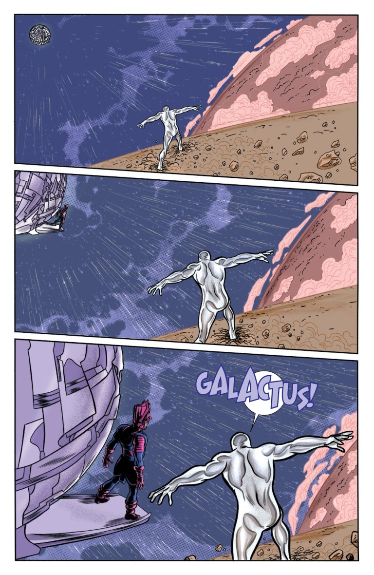 In 'Silver Surfer' (2015) #9, Silver Surfer moves the moon out of orbit and slams it into Galactus at superluminal speed.