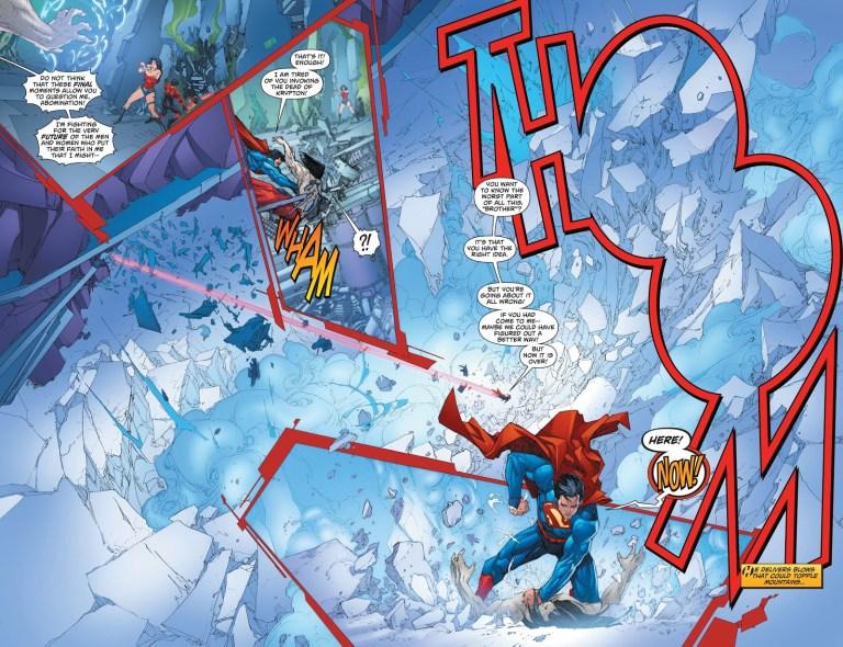 In 'Superman' (2013) #17, Superman delivers a devastating punch on H'el.