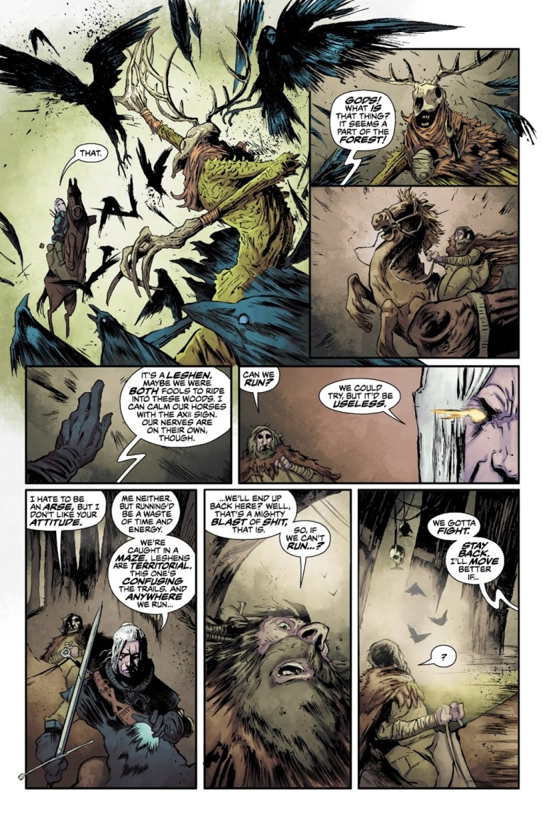 In 'The Witcher: House Of Glass' (2014) #1, Witcher vanquishes the Black Forest's Leshen.
