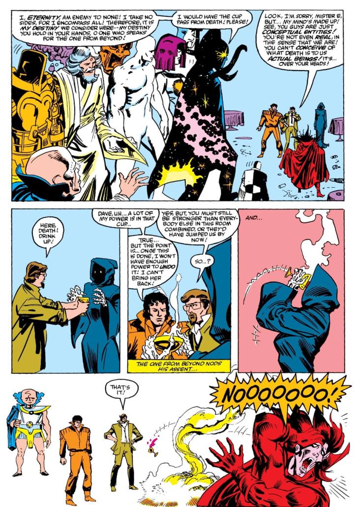 In 'Secret Wars II' (1985), Beyonder kills Death.