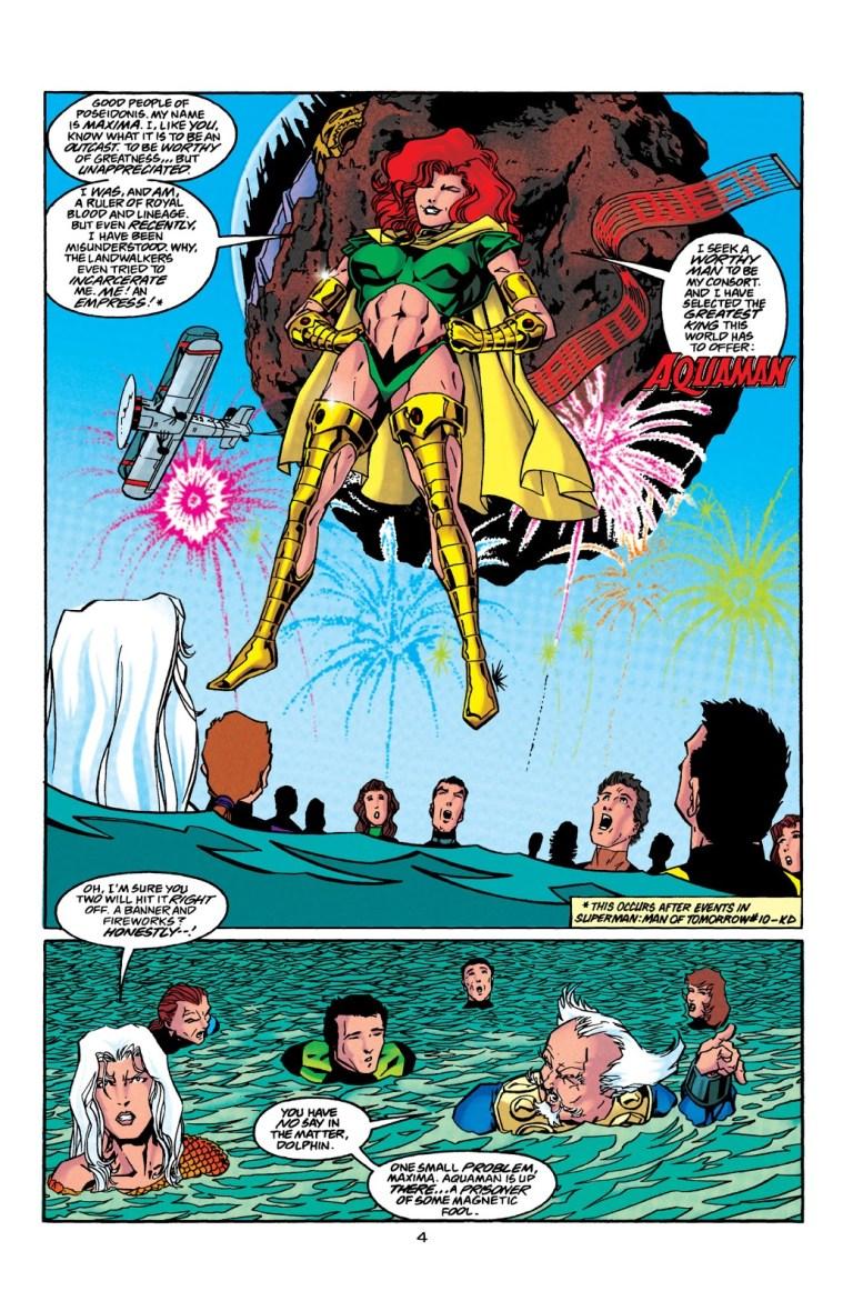 In 'Aquaman' (1998) #41, Maxima declares Aquaman her mate to the citizens of Poseidonis.