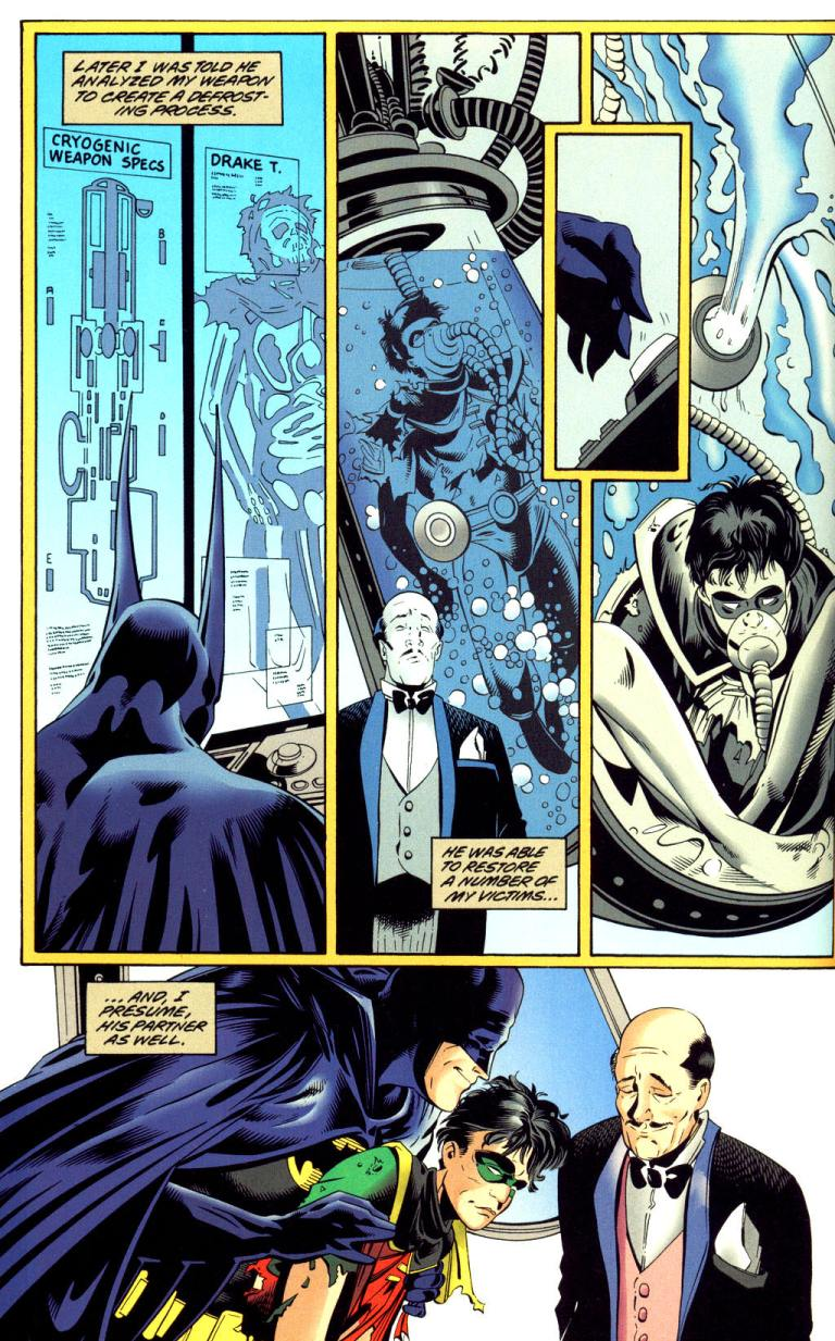 In 'Batman: Mister Freeze' (1997) #1, Batman reverse-engineers Mister Freeze's Cold Gun's defrosting to save Robin and Gotham City.