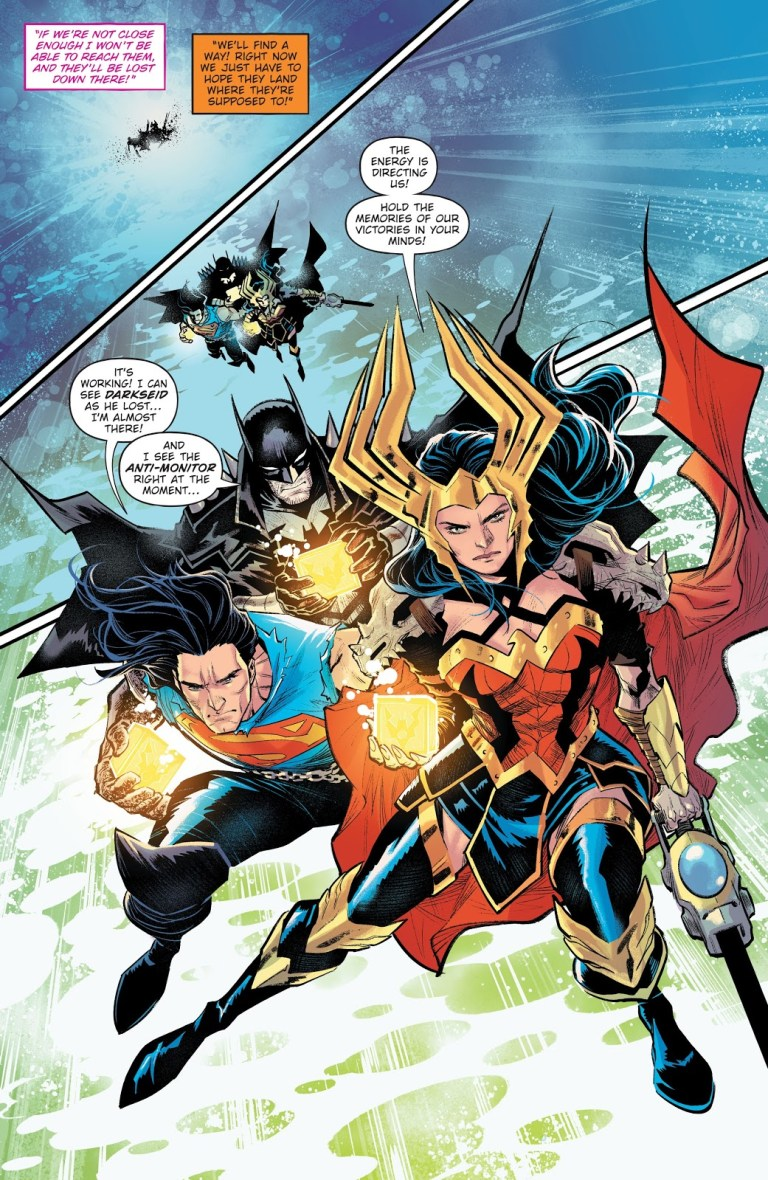 In 'Dark Knights: Death Metal Trinity Crisis' (2020) #1, Wonder Woman, Batman and Superman travel to the three major DC crises to collect their Crisis energies.