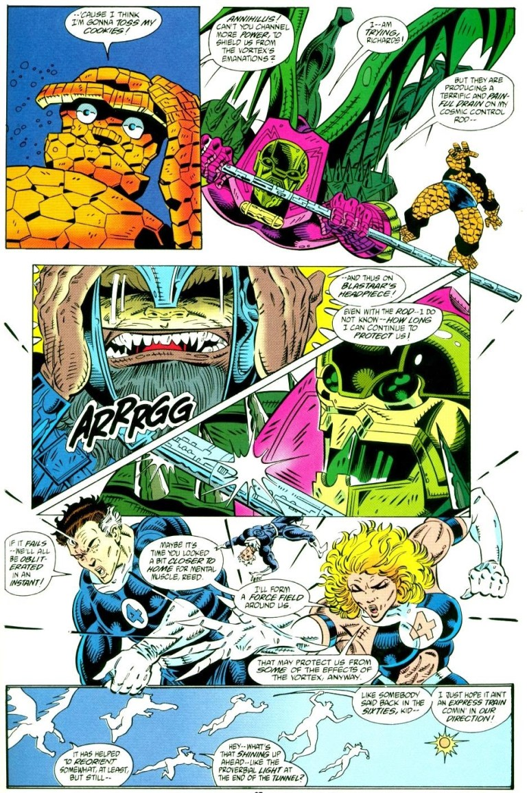In 'Fantastic Four Unlimited' (1993) #3, Invisible Woman creates a force field inside a black hole in the Negative Zone.