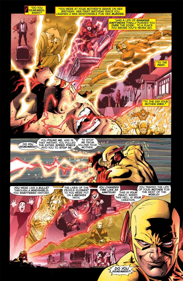 In 'Flashpoint' (2011) #5, Reverse-Flash reveals to Barry that the hero caused Flashpoint over grief for his mother.