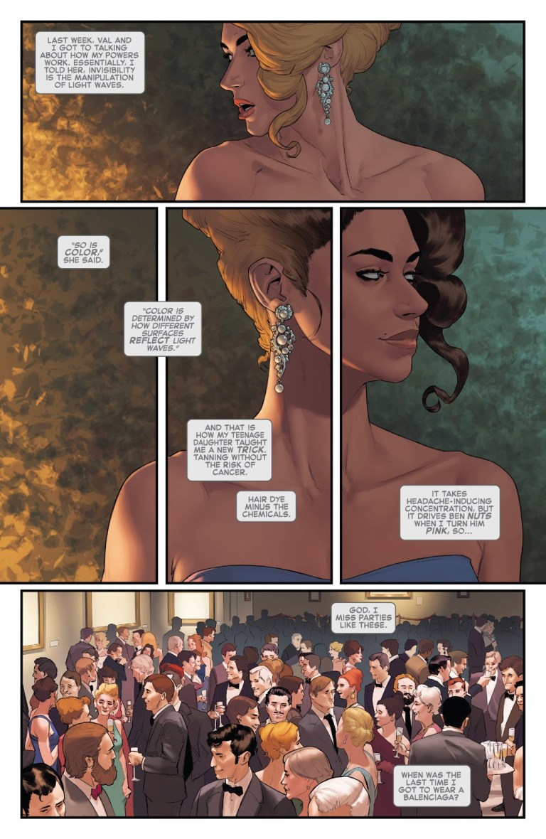 In 'Invisible Woman' (2019) #3, Invisible Woman turns her hair color from blonde to brunette.