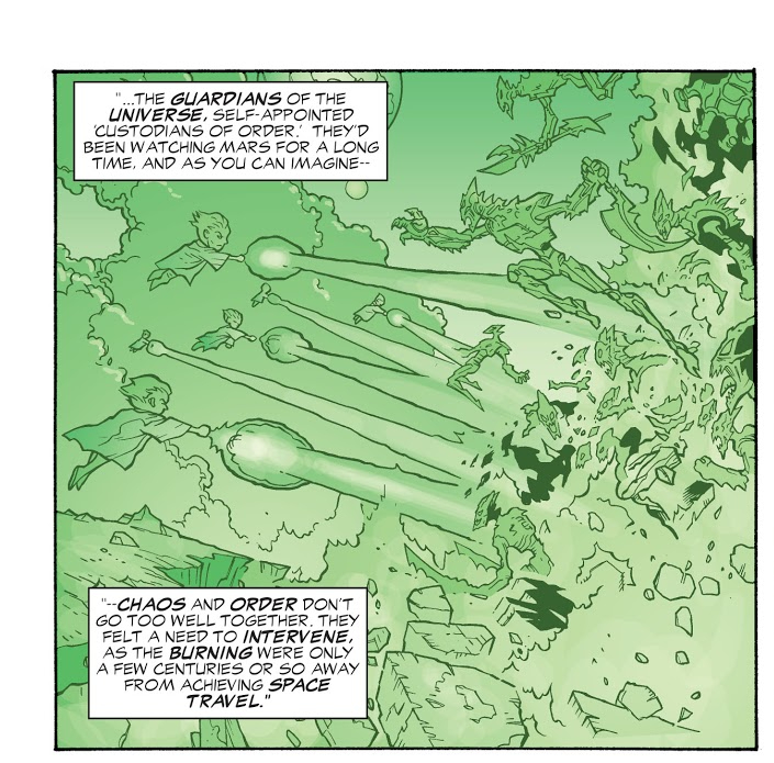 In 'JLA' (2003) #87, 20,000 years ago, the Guardians of the Universe battled the Burning Martians.
