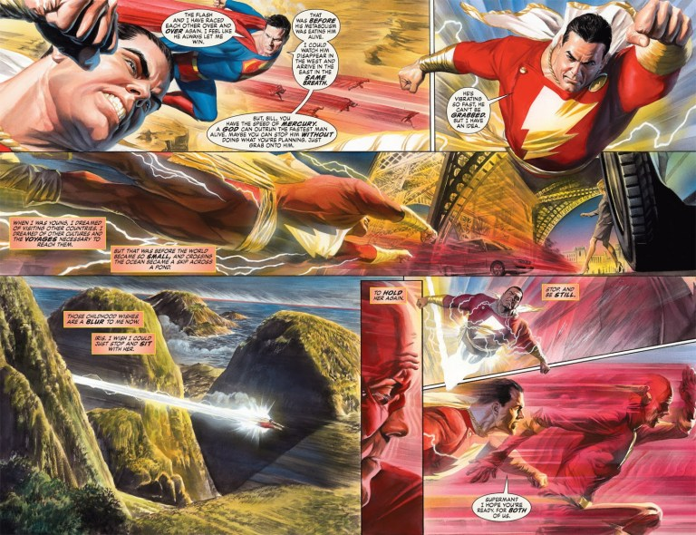 In 'Justice' (2006) #7, Captain Marvel outruns the Fastest Man Alive.