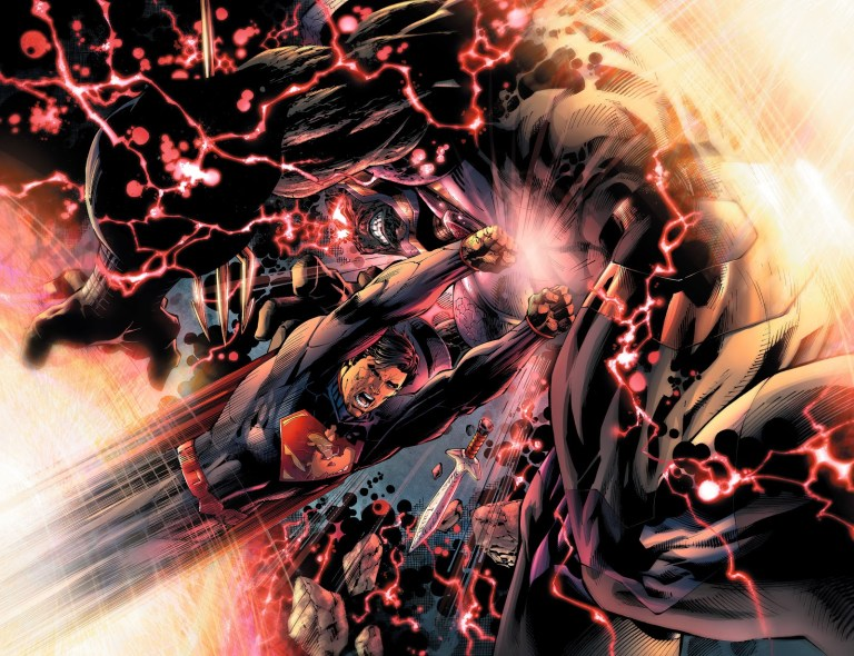In 'Justice League' (2012) #6, Superman bullrushes Darkseid into a Boom Tube.