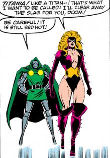 In 'Marvel Super Heroes Secret Wars' (1984) #3, Titania emerges on Battleworld.
