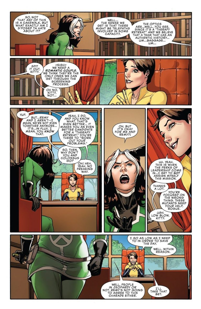 In 'Rogue & Gambit' (2015) #1, Kitty Pryde sends Rogue and Gambit to therapy retreat on Paraiso as an undercover mission.